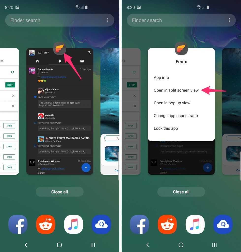 Samsung Galaxy S10 Plus Bölünmüş ekran uygulamaları