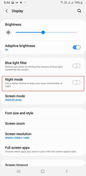 Samsung Galaxy M30 Gece Modu veya Karanlık Tema